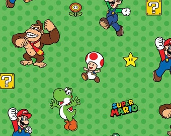Per Yard, Nintendo Super Mario Characters Green Fabric From Springs Creative