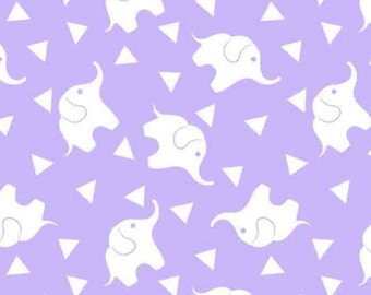 Elephant Fabric Confetti Lavender Lily Fabric FLANNEL From David Textiles