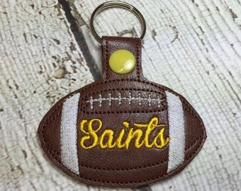 Saints Football - In The Hoop - Snap/Rivet Key Fob - DIGITAL Embroidery Design