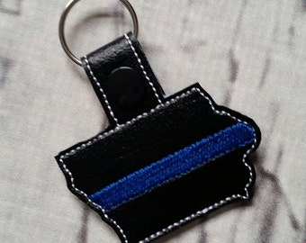 Iowa - POLICE - In The Hoop - Snap/Rivet Key Fob - DIGITAL Embroidery Design