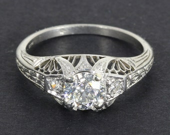 GIA Potentially Flawless .94 Cts. Old European Art Deco Platinum Engagement Ring