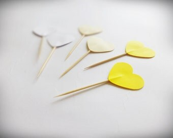 24 Yellow Heart Party Picks, Heart Toppers, Valentines Cupcake Toppers, Party Picks, Heart Toppers, Heart Cake Toppers, Valentines Decor
