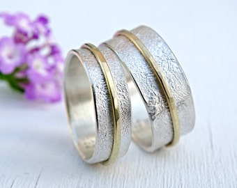 silver gold wedding ring set, unique wedding bands, matching rings his and hers, promise ring set, viking wedding rings distressed gold