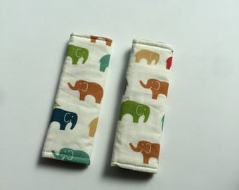 Organic Cotton - Reversible Stroller Strap Covers - Elephants - Triangles - Toddler Straps