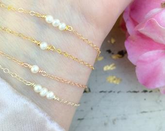 Dainty Pearl Bracelet, Thin Gold Bracelet, Dainty Bracelet, Minimalist Bracelet, Bridal Gift