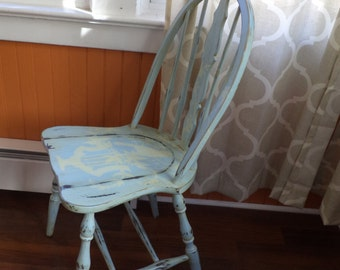 Vintage Shabby Chic Cottage Style Pale Blue Hand Painted Chair