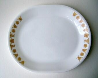 Corelle Livingware Oval Platter Serving Dish in Butterfly Gold