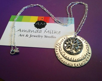 Family Tree layered hand stamped names necklace
