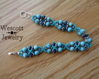 Turquoise and Silver Daybreak Bracelet