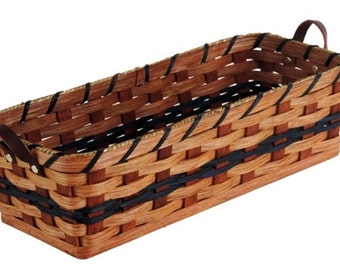 Amish Handmade Bread Basket w/Leather Loop Handles
