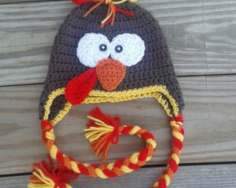 Turkey hat, crochet turkey hat, baby turkey hat, toddler turkey hat, Thanksgiving turkey hat, Thanksgiving hat, adult turkey hat, earflap