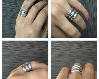 BE Bold ! 3-Row Stacked Sterling Silver Band Ring!