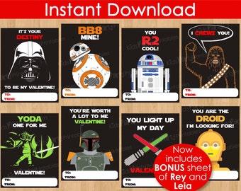 Star Wars Valentine Cards, INSTANT DOWNLOAD 8pc Star Wars Valentines Day Cards, PRINTABLE The Force Awakens Kids Classroom Boy Valentine