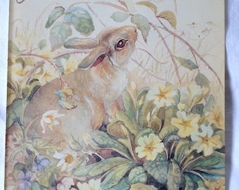 Vintage Botanical Book Page - April - Rabbit - Primroses - Nature Notes of an Edwardian Lady - Edith Holden - Country Diary