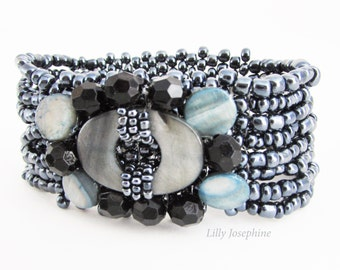 Multi Strand Beaded Bracelet, Beaded Cuff Bracelet, Hematite Grey Beaded Bracelet, Slate Grey Cuff Bracelet, Black and Grey Bead Bracelet