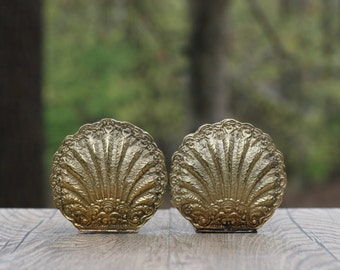 Pair of Delicate Brass Seashell Bookends / Small Brass Shell Bookends / Ornate Brass Shell Bookends / Small Brass Bookends / Ornate Bookends