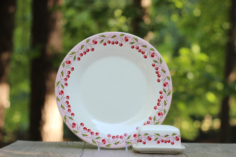 Vintage le comptoir de famille cherry butter dish and plate - Le comptoir des familles ...