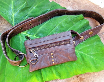 Dark brown studded leather Fanny Pack