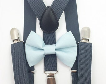 FREE DOMESTIC SHIPPING! Dark gray suspenders  + Light blue Bow tie toddler kids boy boys Adult holidays photos family photoshoot