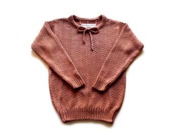 Babies/Children's lightweight merino wool lace sweater/round collar/crew neck/sweater/spring/summer