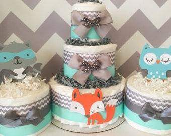 SET OF 3 Woodland Diaper Cakes in Mint, Grey and White, Woodland Baby Shower Centerpieces