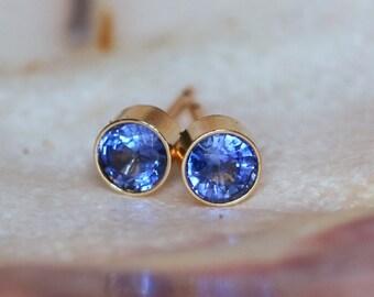 14K Genuine Blue Sapphire Studs - 4mm Yellow Gold Bezel Earring Studs - Gorgeous Ceylon Sapphire Genuine Gemstone Posts