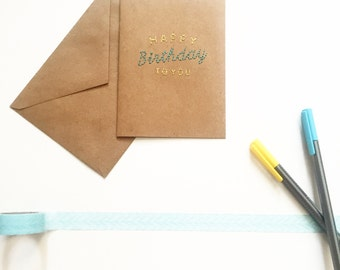 Happy Birthday Stitched Card