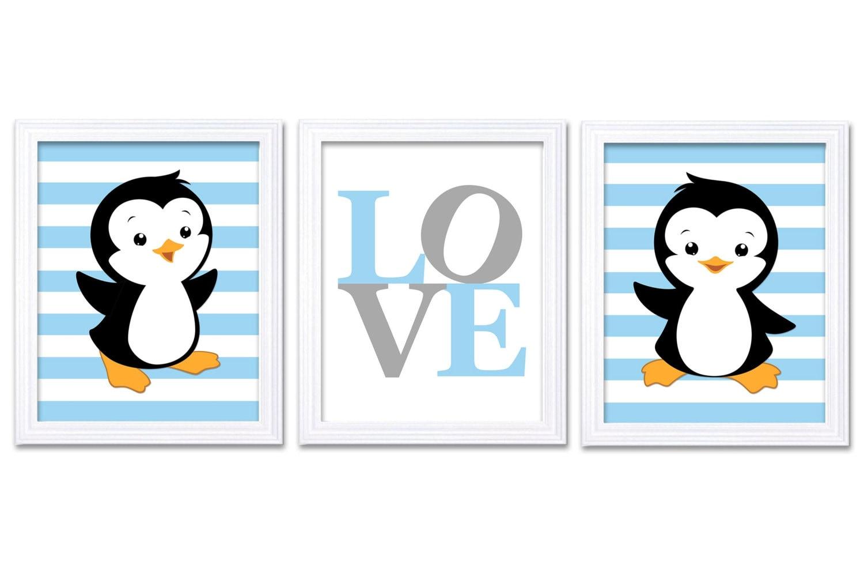 Penguin Nursery Art Set of 3 Prints LOVE Blue Grey Gray Penguin Wall Decor Baby Boy Child Kid Room B