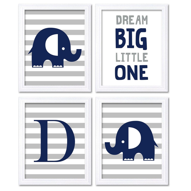 Elephant Nursery Art Navy Blue Grey Dream Big Little One Letter Set of 4 Prints Stripes Child Art Ki
