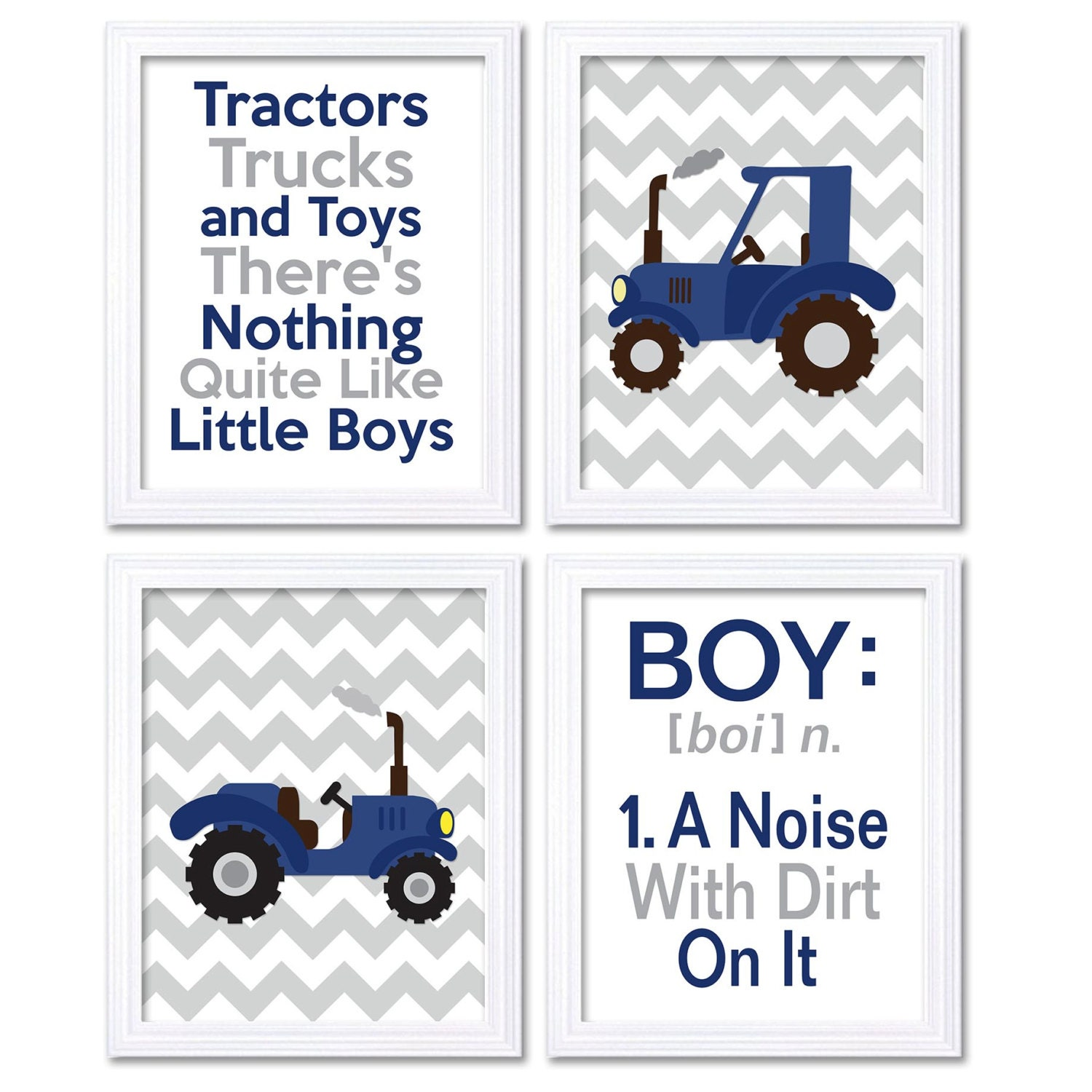 Nursery Art Tractors Trucks Toys Theres Nothing Quite Like Little Boys Prints Set of 4 Navy Blue Gre