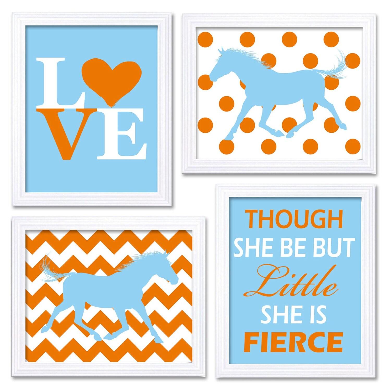 Horse Nursery Art Baby Blue Orange Prints Set of 4 LOVE Though She be but Little She is Fierce Chevr