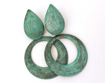 Vintage Boho Earrings, Green Patina Earrings Dangle Pierced Earrings Green Verdigris Earrings Retro, Ancient Green Patina Boho Chic Earrings