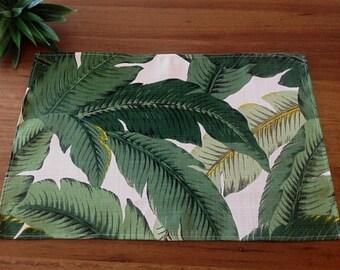 Placemats, Outdoor Tropical Decor Outdoor Decor, Set of 2 Banana Leaf Placemats Palms Coastal Decor  Hawaiian Style. Beach House Decor