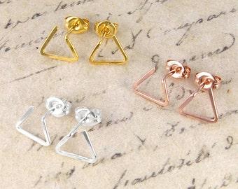 Triangle Studs, Wire Earrings, Geometric Studs, Stud Earrings, Sterling Silver, 18k Gold Plating, Earrings, Studs, Silver Stud, Minimal Stud