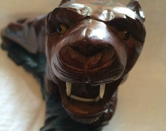Vintage Hand Carved Wooden Panther?