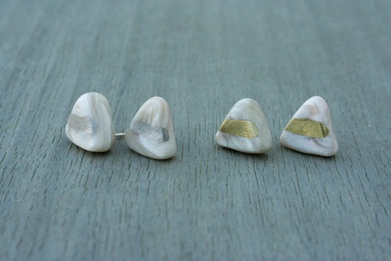 Marbled White Triangle Clay Studs // Gold or Sterling Silver // Bridesmaid // Gifts for Her // Stocking Stuffer