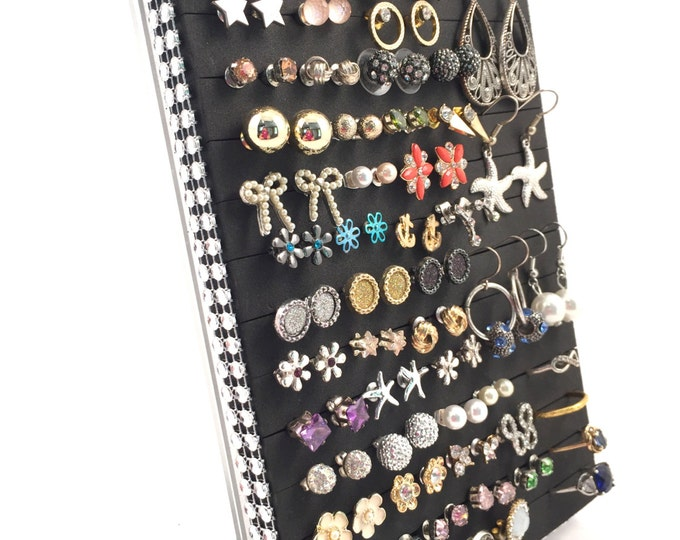 Earring & Ring Organizer - Silver Jeweled Ribbon - Jewelry Display Stand