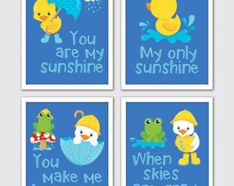 Rubber Duck Nursery Art, Yellow Duck Print, Set Of 4, Duckling Print, Duck Nursery Print, Baby Duck Art, Nursery Duck, You Are My Sunshine