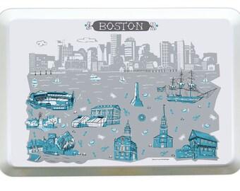 Boston Tray-City Tray-Melamine Tray-City Serving Tray-Turquoise-Grey-Personalized-Custom-Any City Tray