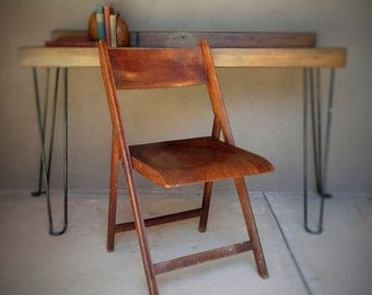 Wood Folding Chair // Dark Wood // Solid Folding Chair // Space Saving