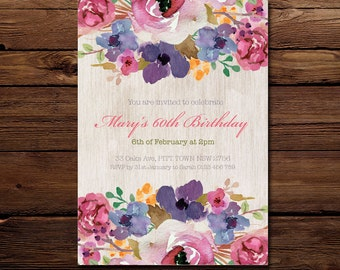 Birthday Invitation - Floral Invitation - Personalised Invitation - Printable Invitation - Digital - Pink Purple Flowers invitation