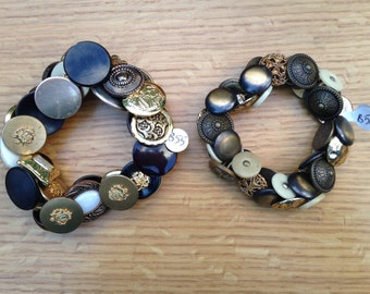 Button Bracelets with Metallic and Mixed Buttons