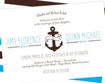 nautical anchor wedding invitation beach wedding invitation boat wedding invitation anchor invitations - Anchor Wedding Invitations