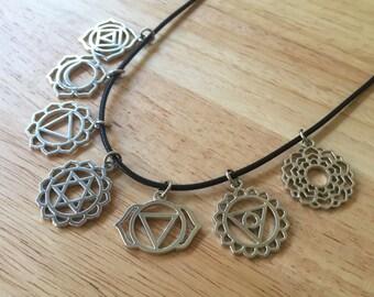 7 Chakra Symbols/ Chakra Necklace/ Chakra Interchangeable Symbol Necklace/ Yoga Necklace/ Chakra Symbols