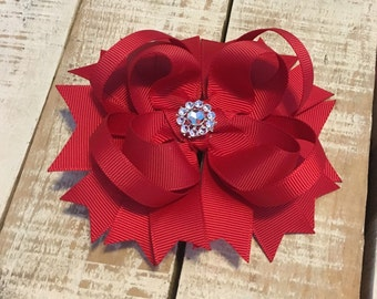 Red Boutique Bow - Red Hair Bow - Girls Hair Bows - Red Hair Clip - Rhinestone Hair Bows