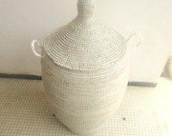 Huge Winter White Wedding basket, laundry hamper, natural grass, handwoven, modern basket