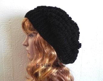 Winter Crochet Slouchy Hat, Women Hat, Black Crochet Womens Knit Beanie by Vikni Designs