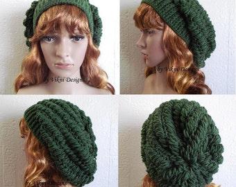 Crochet Hat, Womens Slouchy Beanie Hat, Green Thyme Womens Knit Beanie, Winter Hat by Vikni Designs