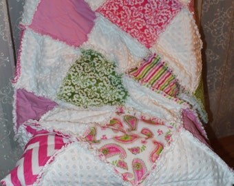 """Baby Quilt, Baby Rag Quilt, Toddler Rag Quilt, Cuddle Cakes Girly Girl Print, Lap Quilt, 46"""" x 54"""""""