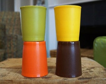 Set of 4 Vintage Tupperware Juice Tumblers/Children's Tumblers 6 oz. Harvest Colors #1251